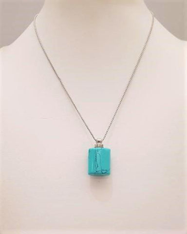 Turquoise Square Wellness Bottle Pendant Silver