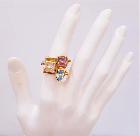 White Topaz Maxi Cube Ring