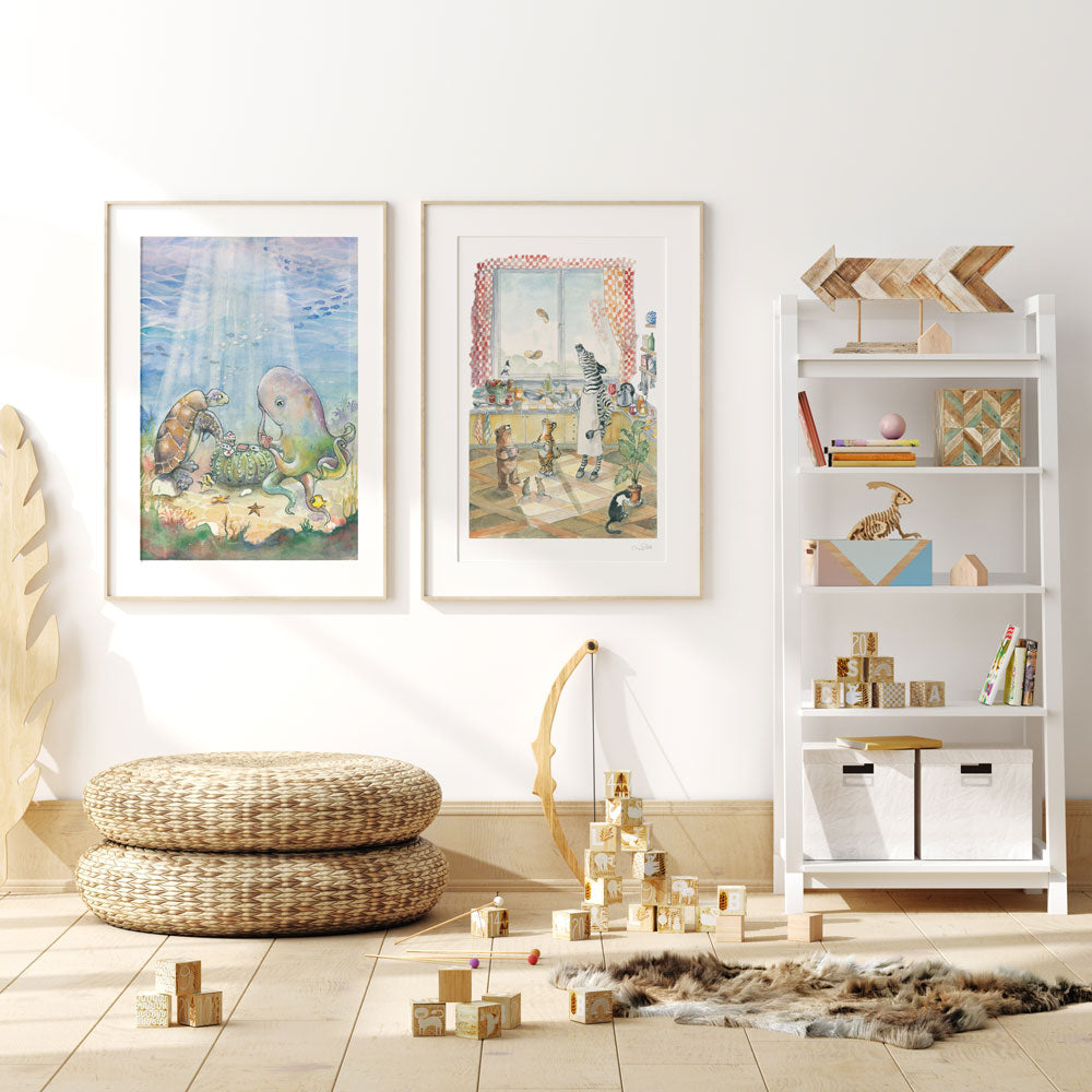 Animal Illustration Wall Art For Playrooms