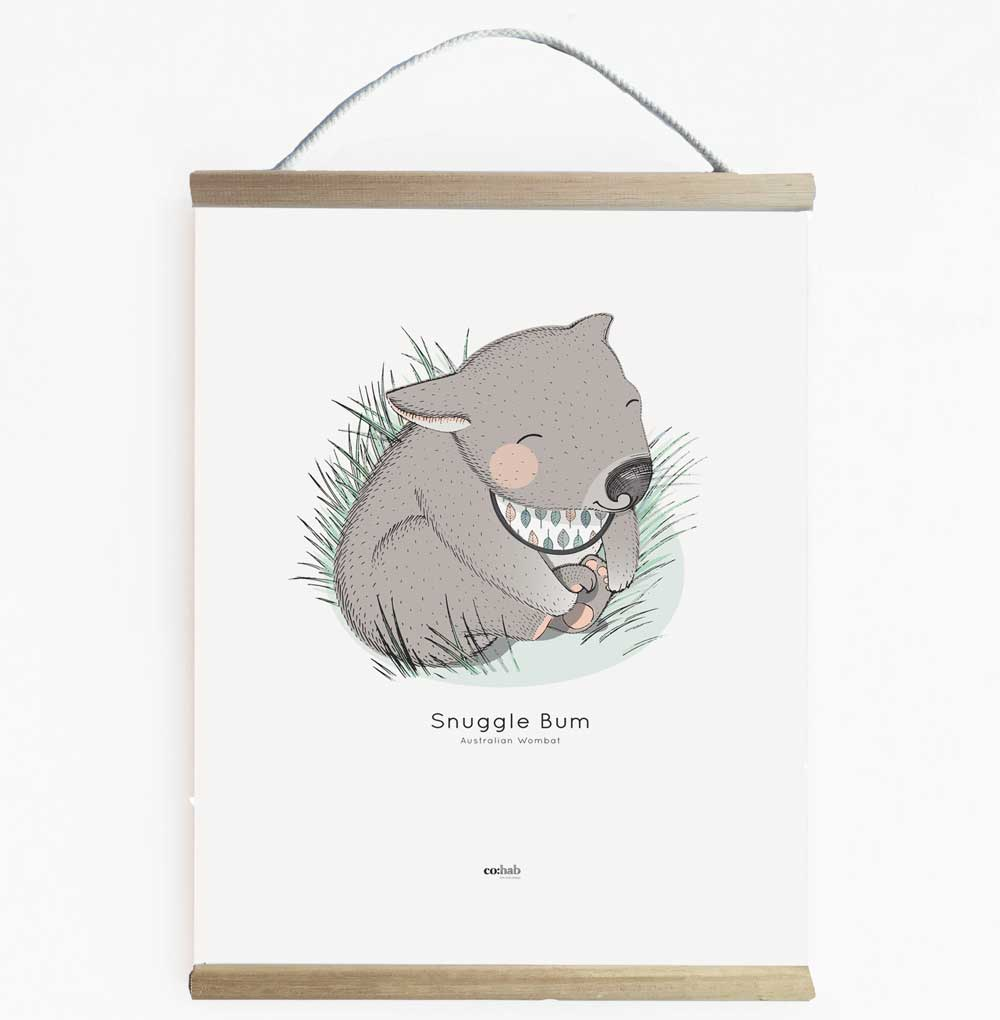 Wombat Aussie Animal Nursery Art Banner