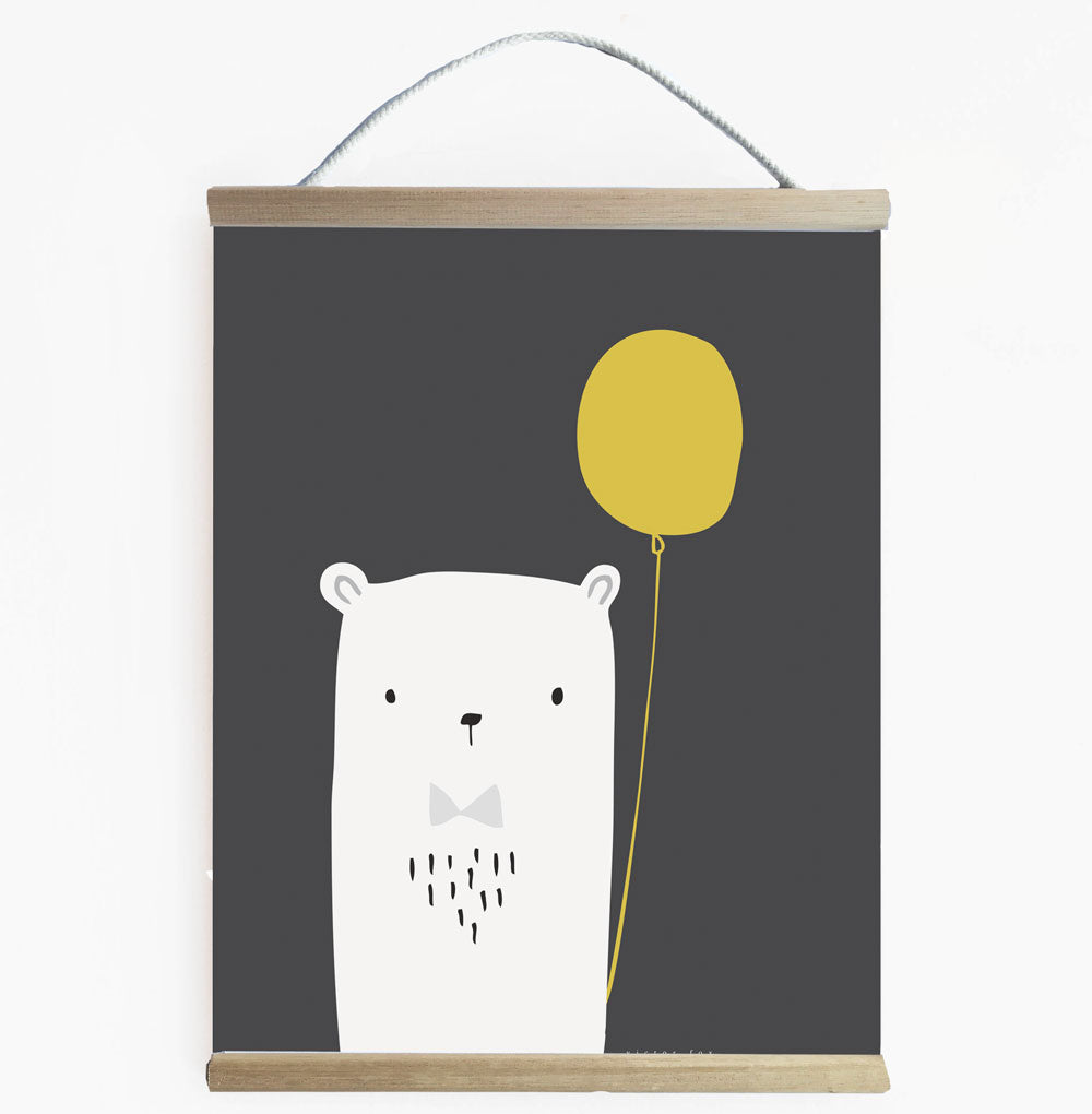 Ready To Hang Bear Balllooon Kids Wall Art Banner