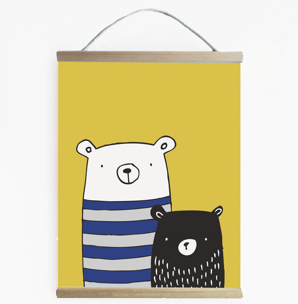 Bear Buddies Canvas Wall Art For Boys.  No Fuss -Ready To Hang Banner..