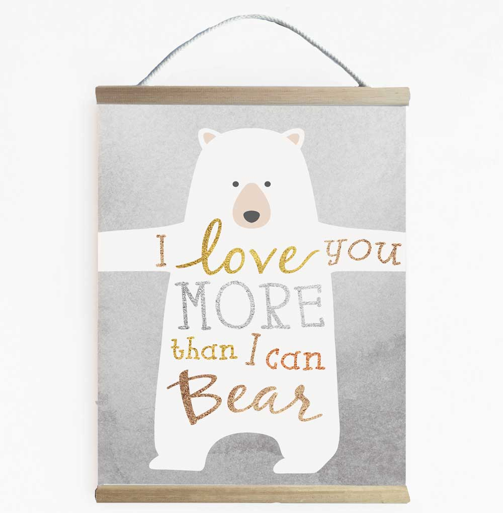 Gender Neutral Bear Love Nursery Wall Banner