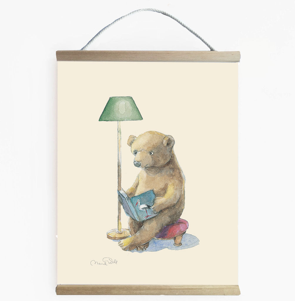 Toddler Room Art - Bear Reader Illustration