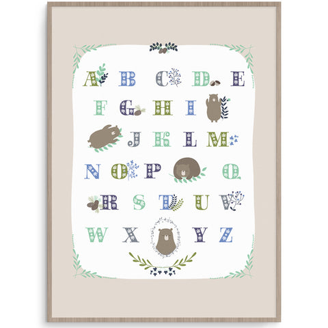 Cute Bear Alphabet Nursery Poster