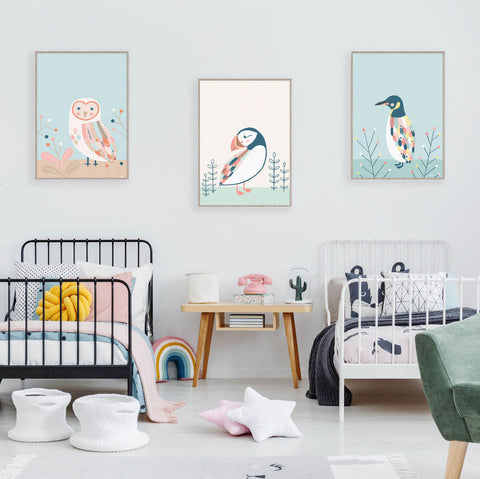 Modern Bird Wall Art For Kids