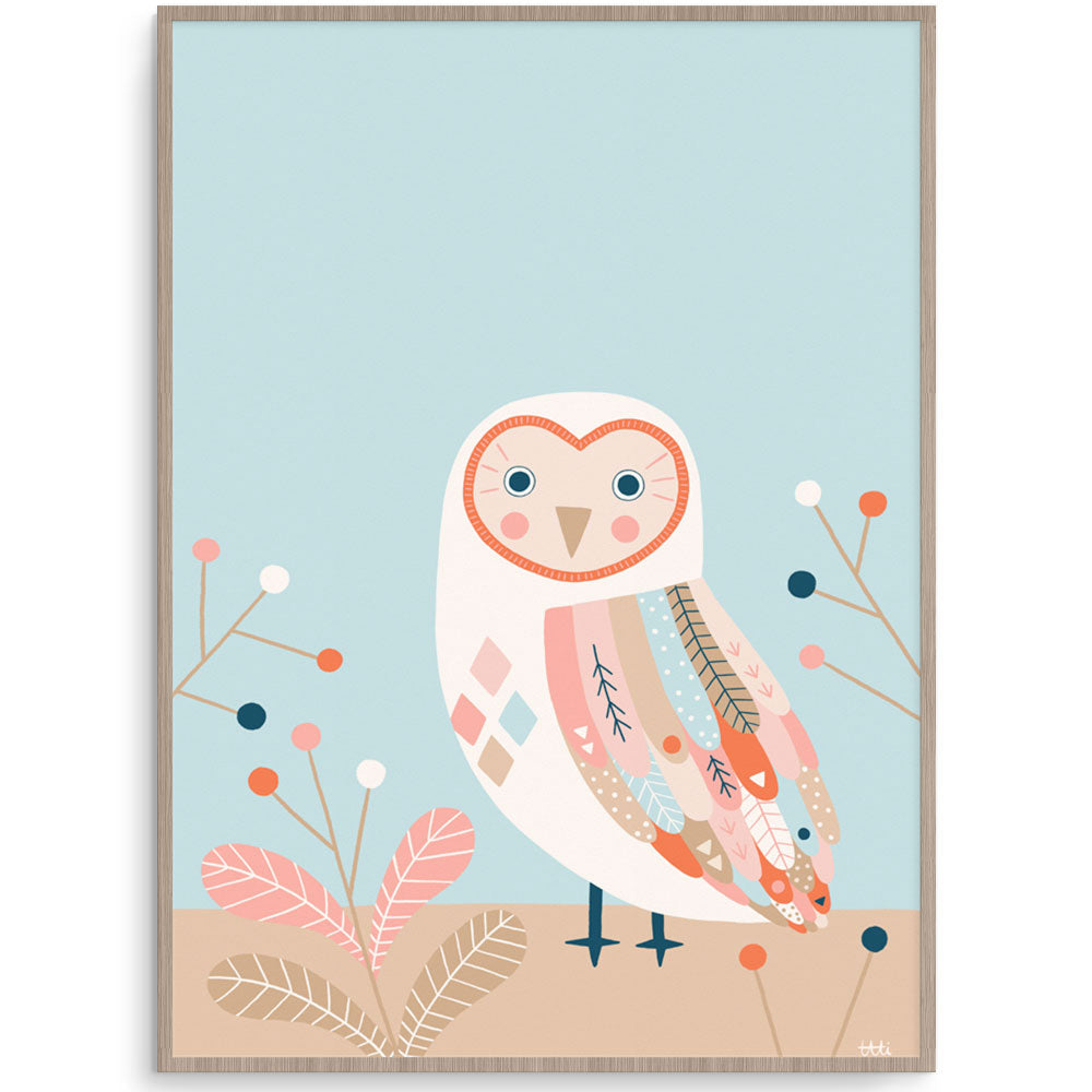 Modern Owl Wall Art For Kids Room