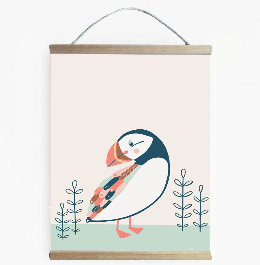 Puffin Scandi Kids Wall Banner