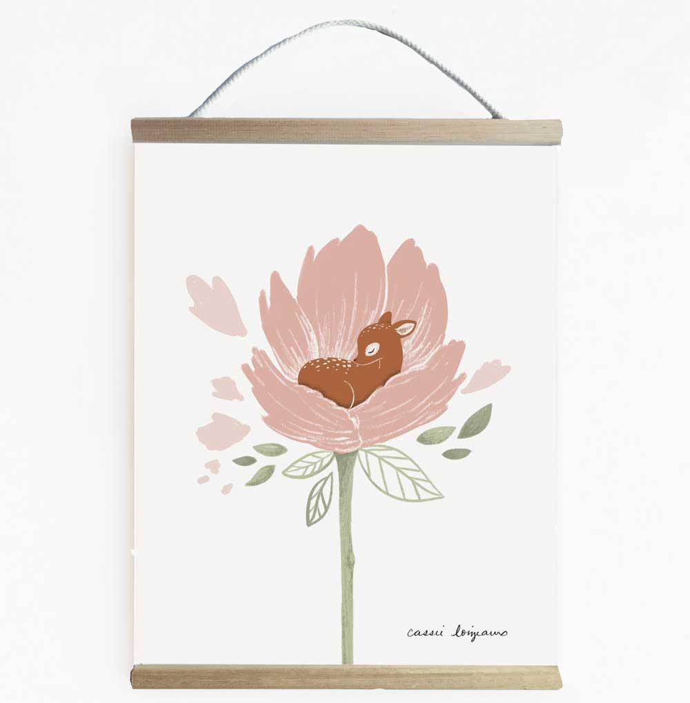 Pretty And Delicate Blooming Deer Wall Banner