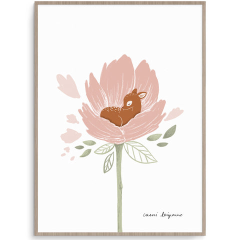 Pretty And Delicate Blooming Deer Wall Art