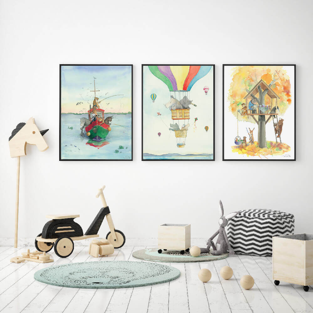Animo Gender Neutral Floating Around nursery art kids wall art