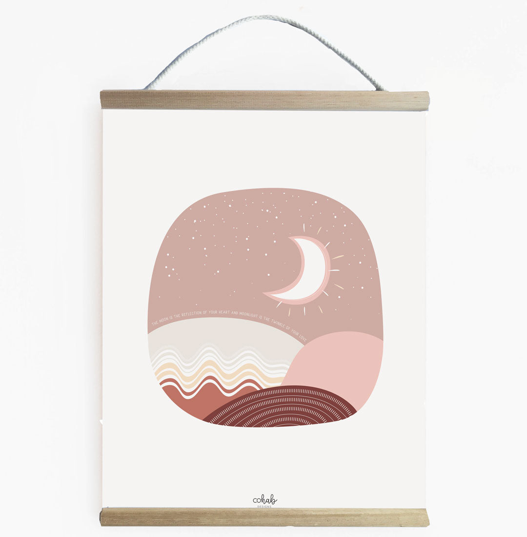Boho Moon Canvas Wall Banner For Kids Room