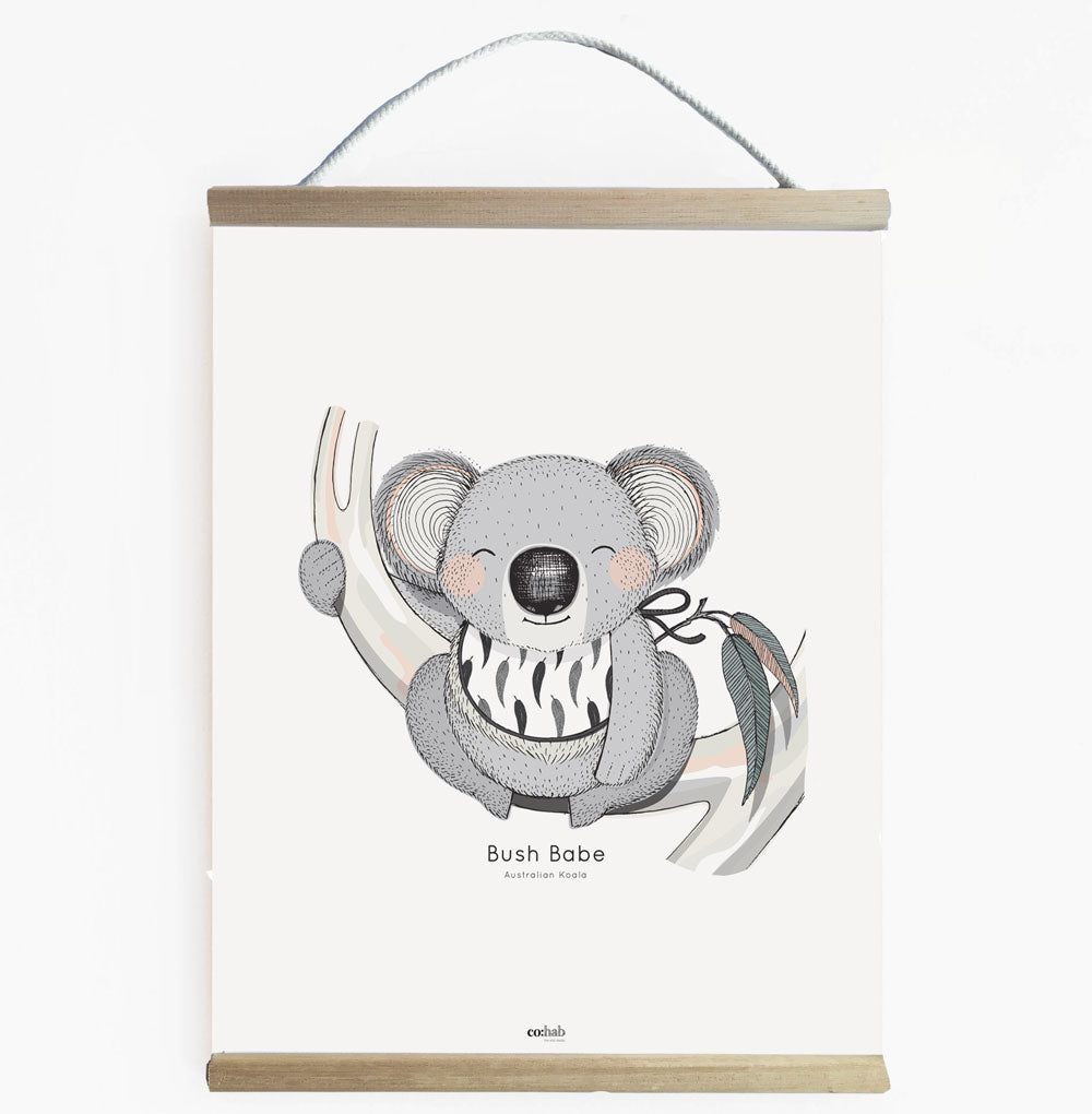 Bush Babe Koala Canvas Wall Banner For Kids Room