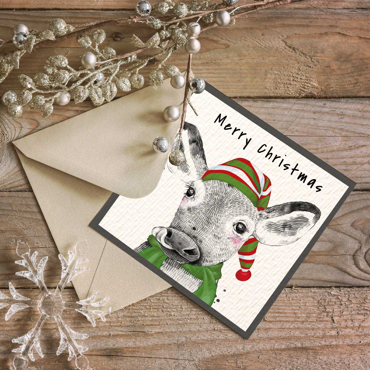 Festive Cow Christmas Card