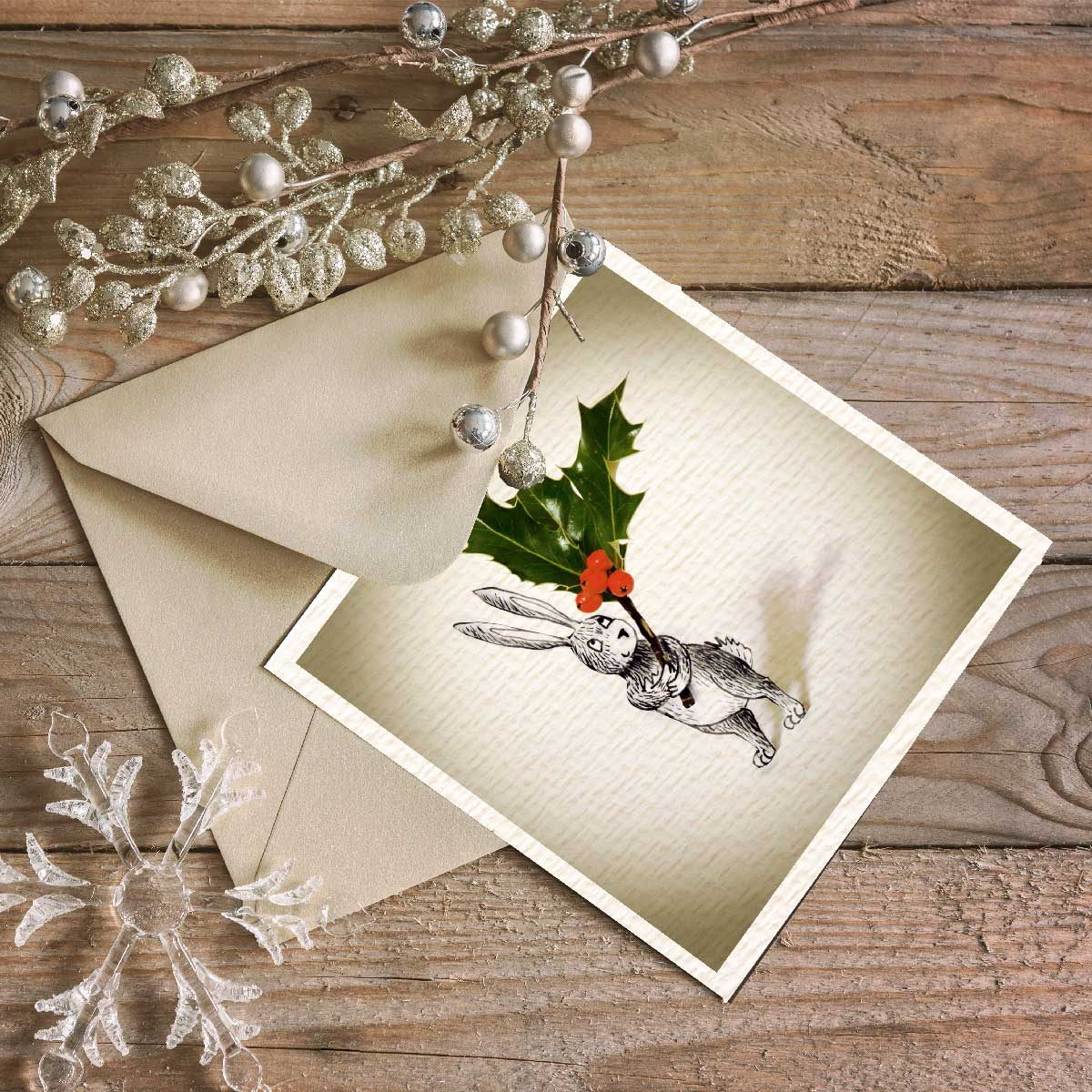 Christmas Rabbit - Holly Christmas Card