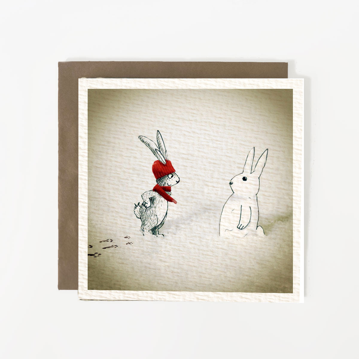 Christmas Rabbit Snowman Christmas Card