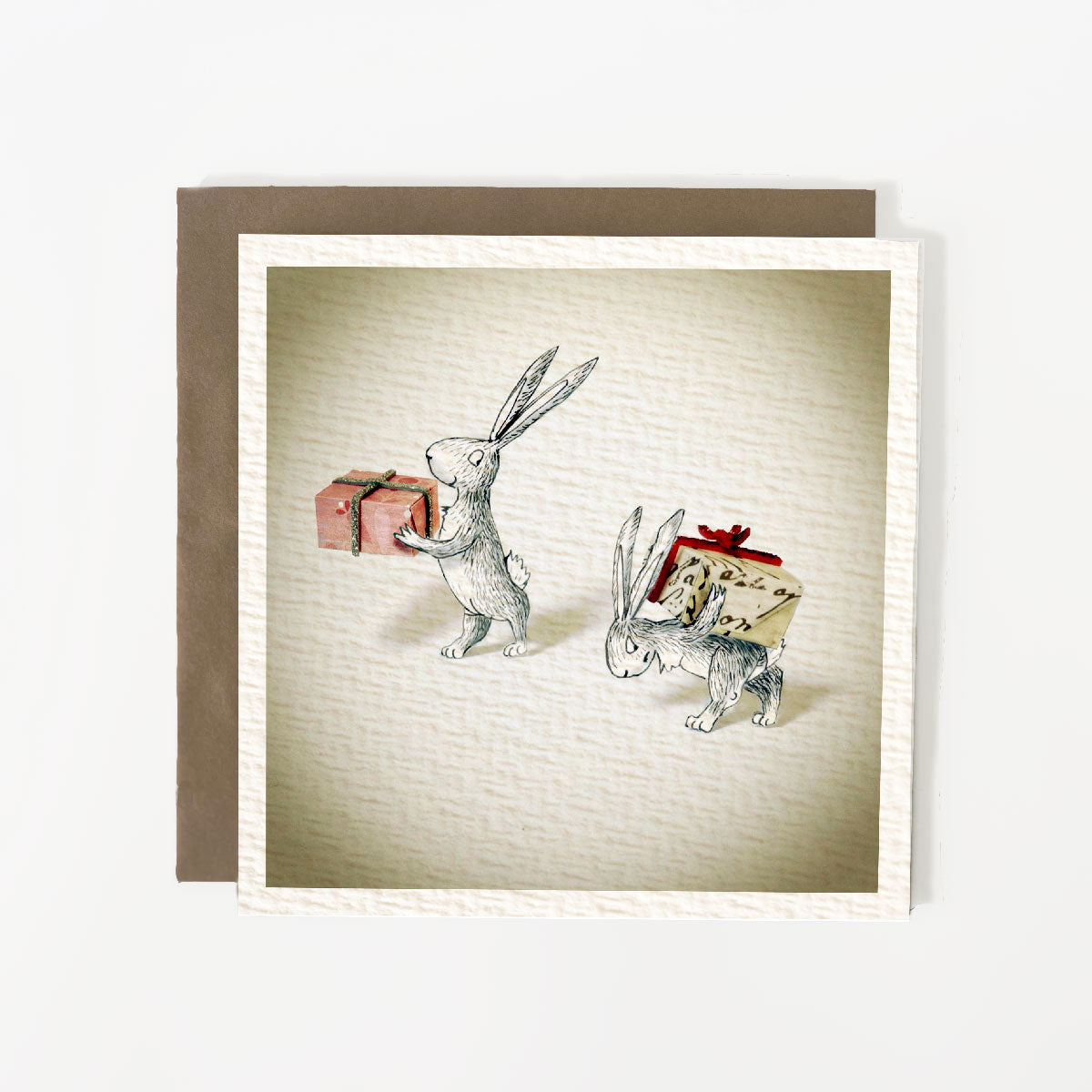 Christmas Rabbit Gifting Christmas Card