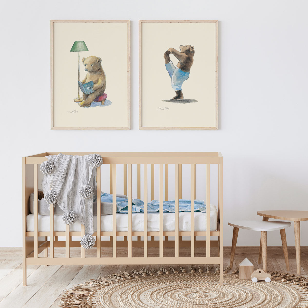 Yoga Bear Kids Wall Art Print