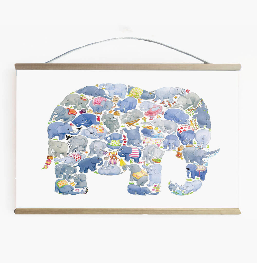 Gender Neutral Elephant Nursery And Kids Room Wall Banner