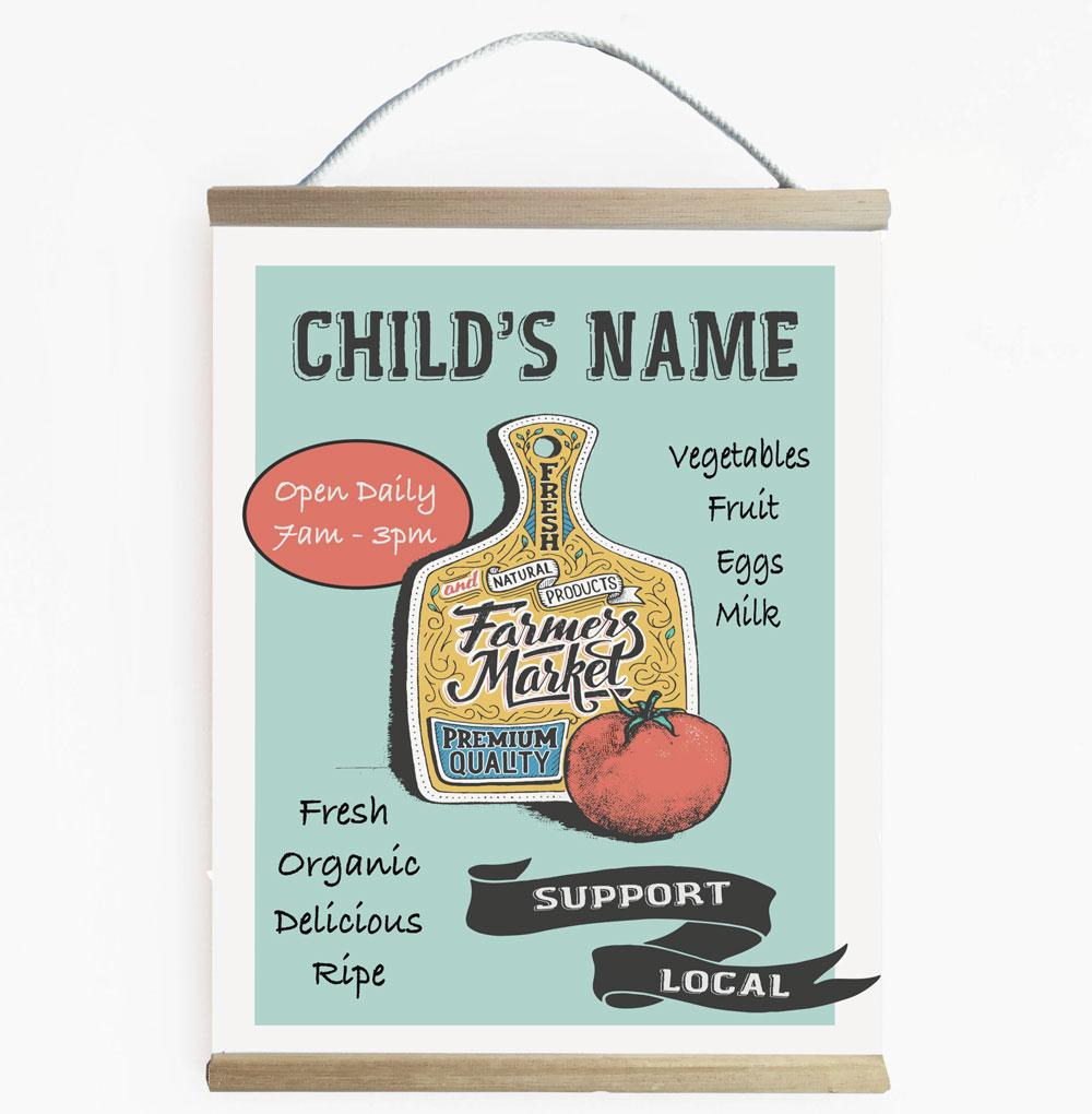 Personalised Farmers Market Wall Banner For Kids Play Shop