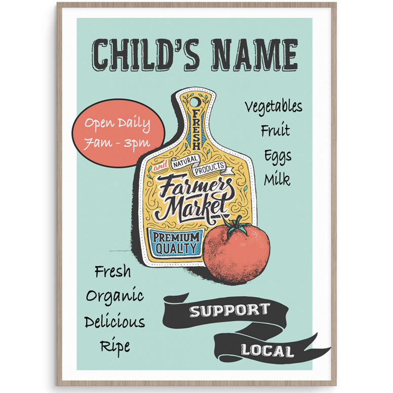 Personalised Farmers Market Poster For Kids Play Market Stall