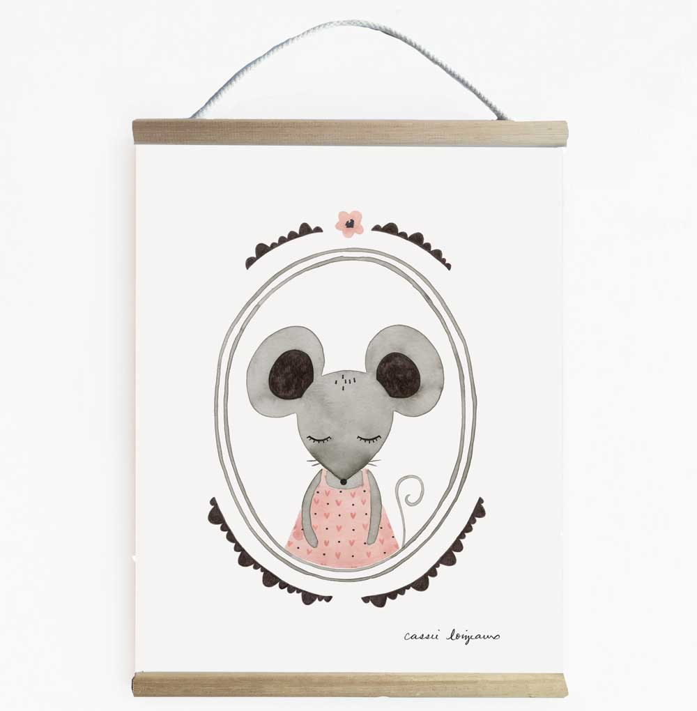 Cute Forest Mouse Nursery Art And Kids Wall Banner