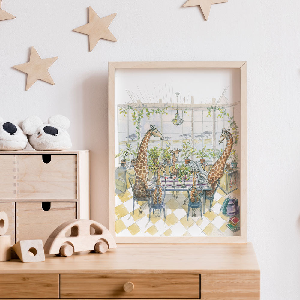 Detailed Giraffe Illustration Kids Print