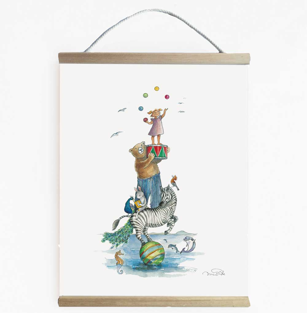 Tallest Girl With Animal Friends Nursery Art Kids Wall Banner