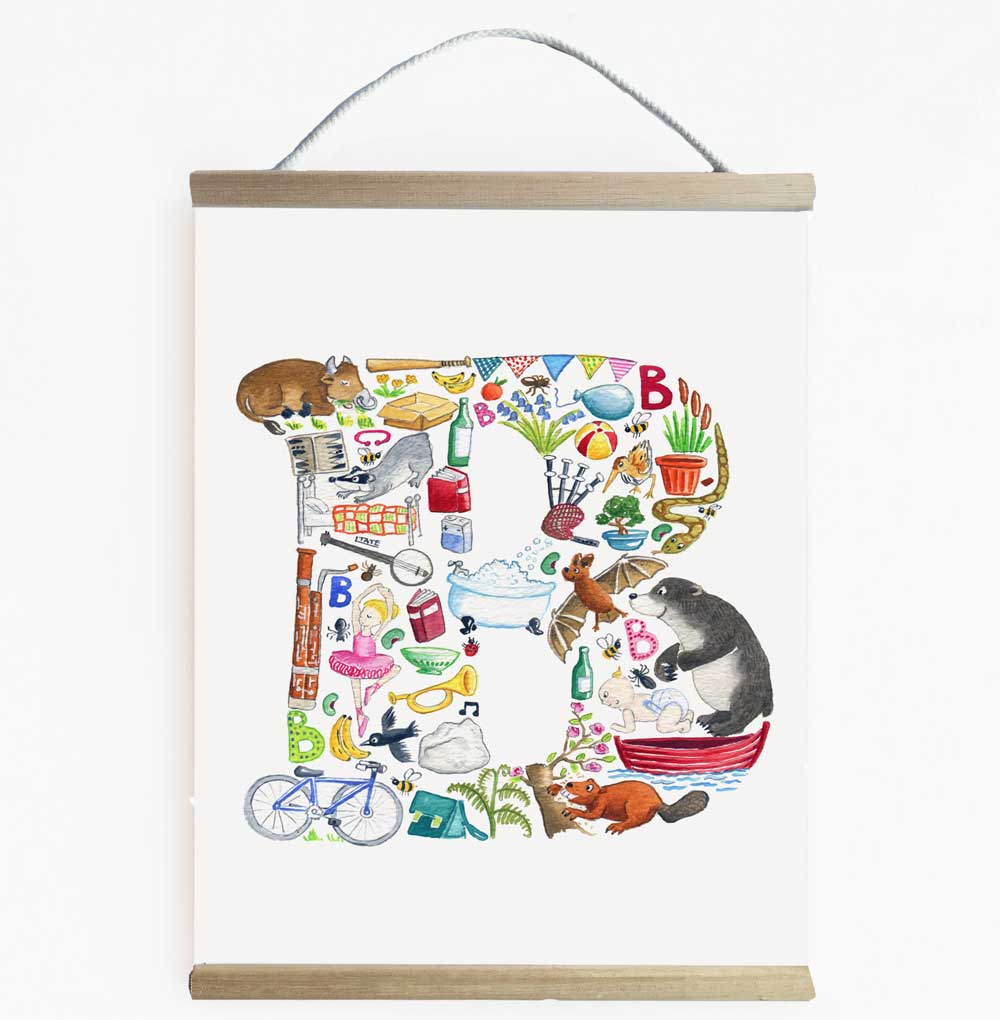 Letter B Initial Wall Banner For Kids