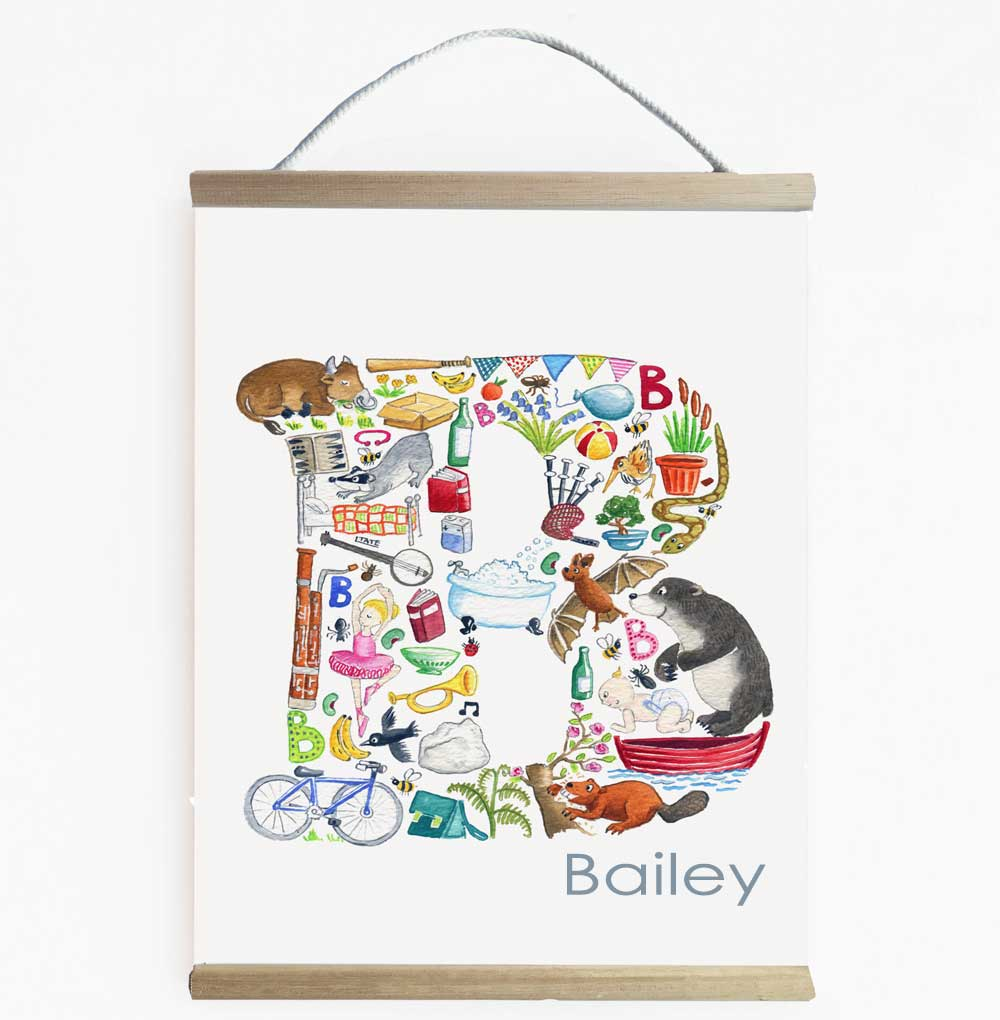 Letter B Personalised Initial Wall Banner For Kids