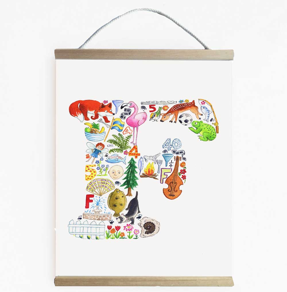 Letter F Initial Wall Art Banner For Kids Rooms And Nurseries