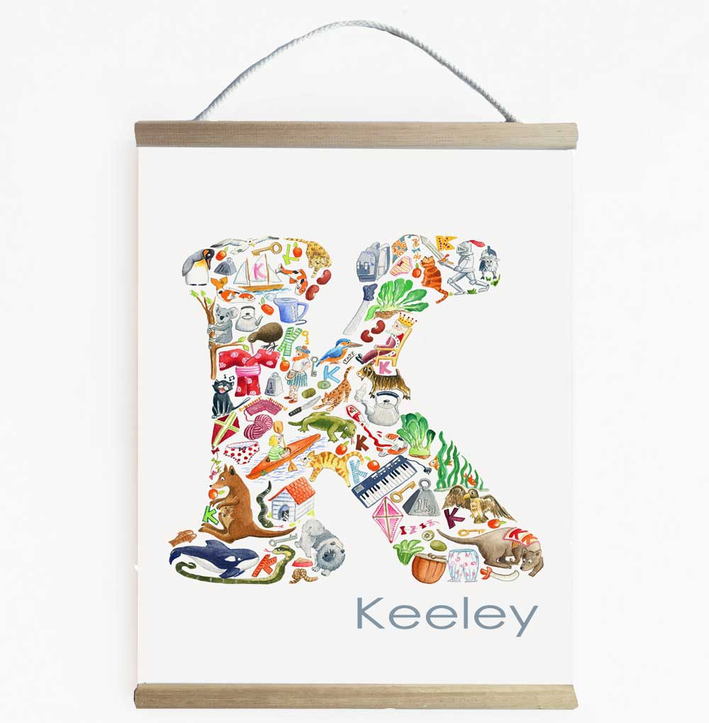 Personalised K Wall Hanging For Children