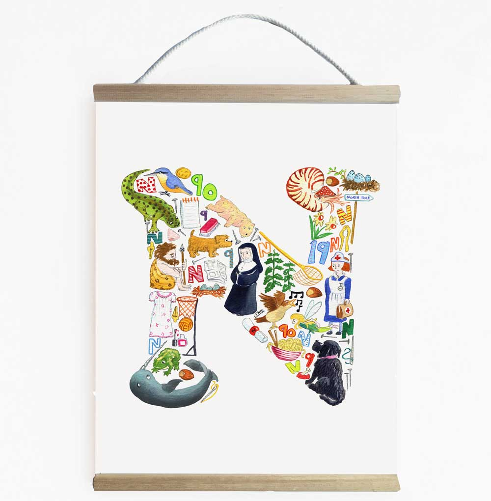 Letter N Nursery Art And Kids Wall Banner