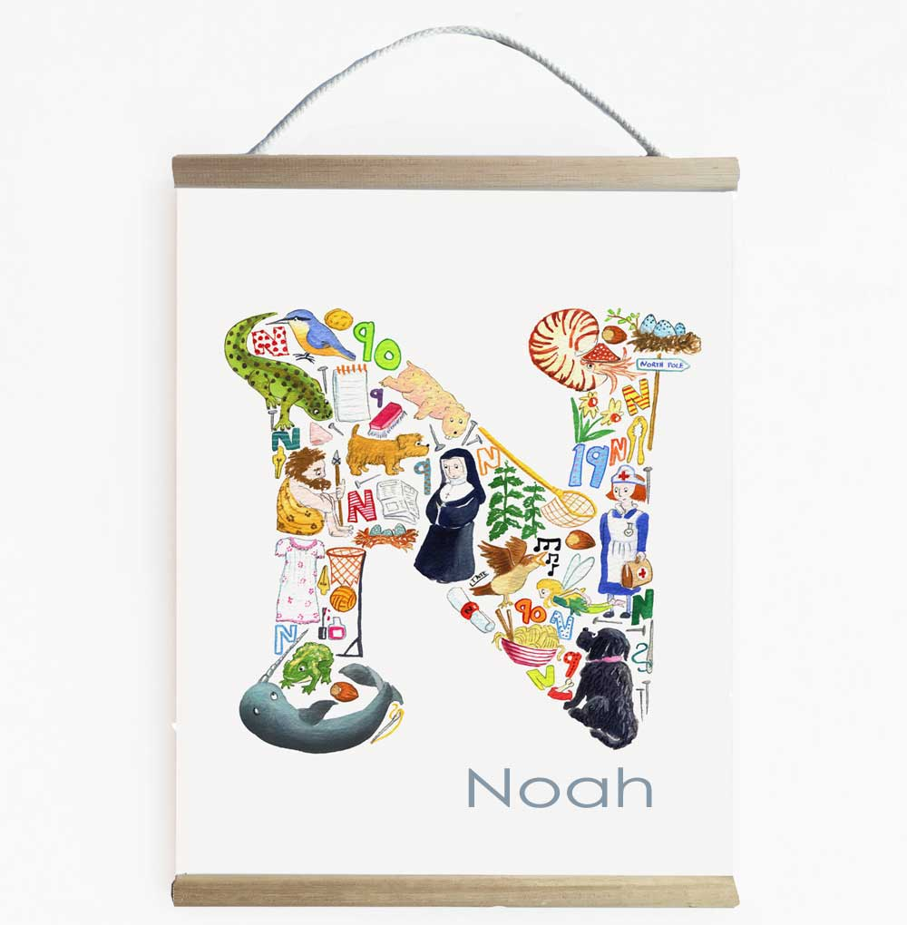 Personalised Letter N Nursery Art And Kids Wall Banner