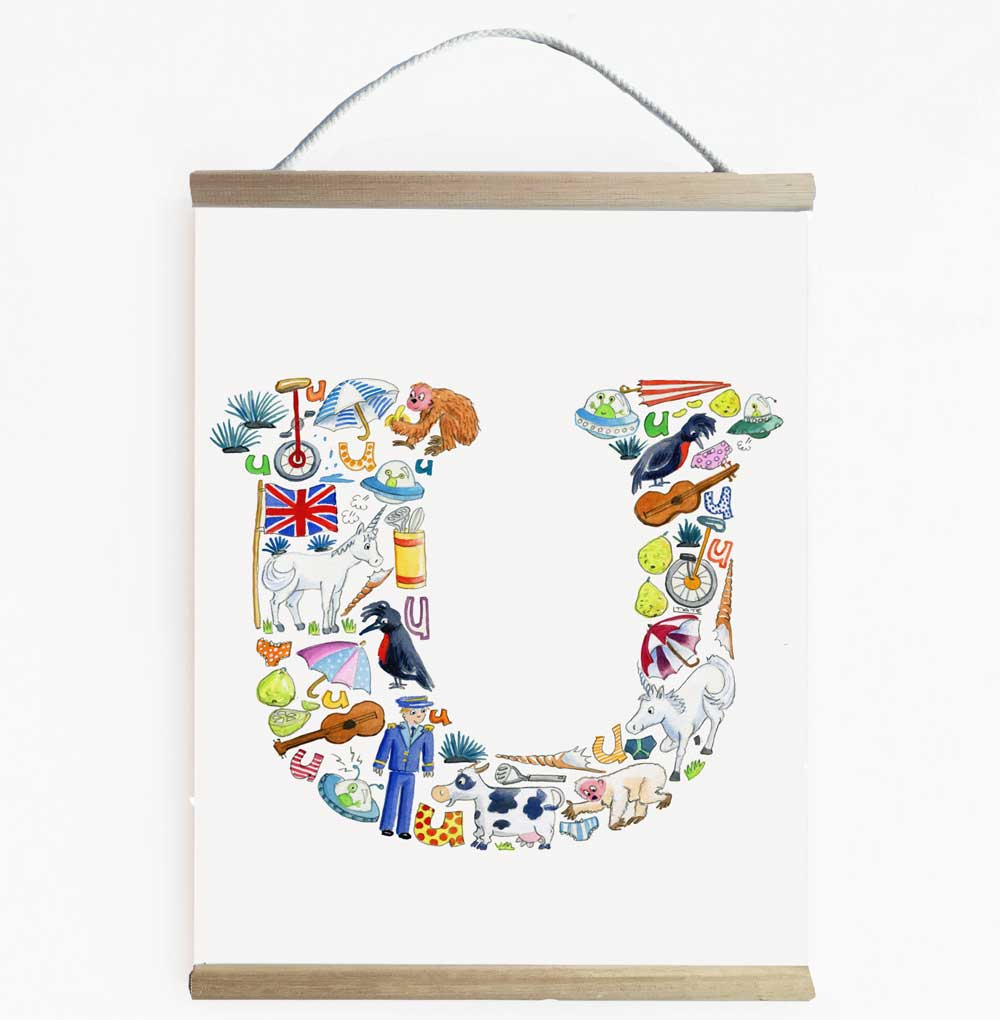 Letter U Wall Banner For Children's Rooms And Nurseries