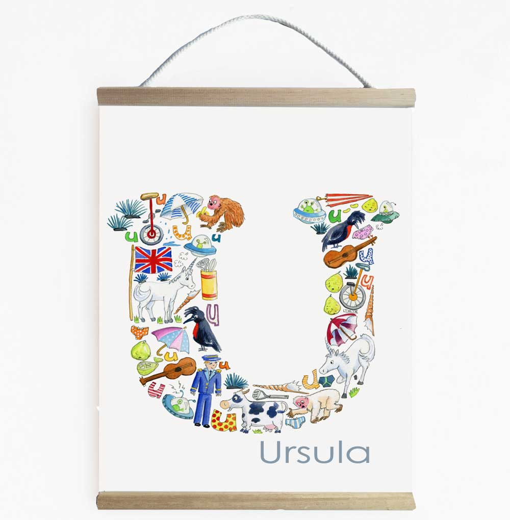 Personalised Letter U Wall Art For Children's Rooms And Nurseries
