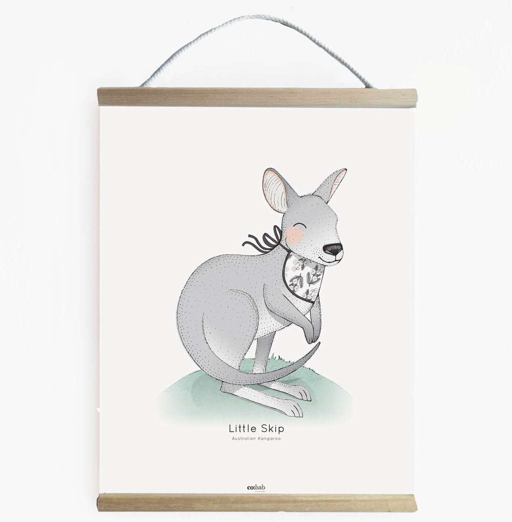 Aussie Little Skip Kangaroo Nursery Art Kids Wall Banner