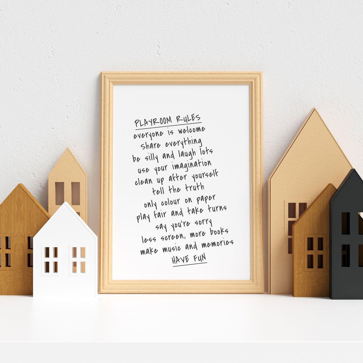 Playroom Rules Print Black And White