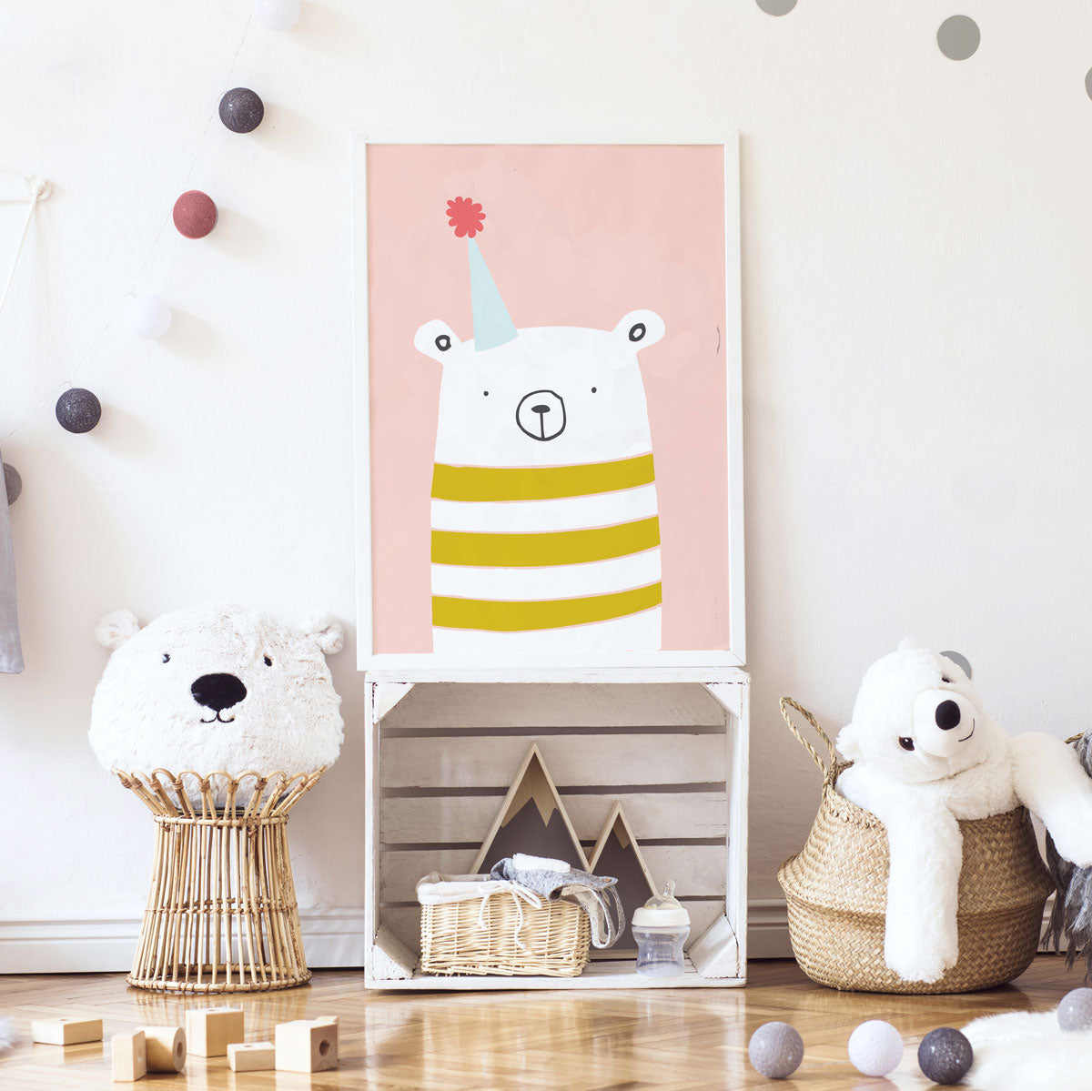 Party Bear Girls Wall Art  Poppin' With Trending Colours