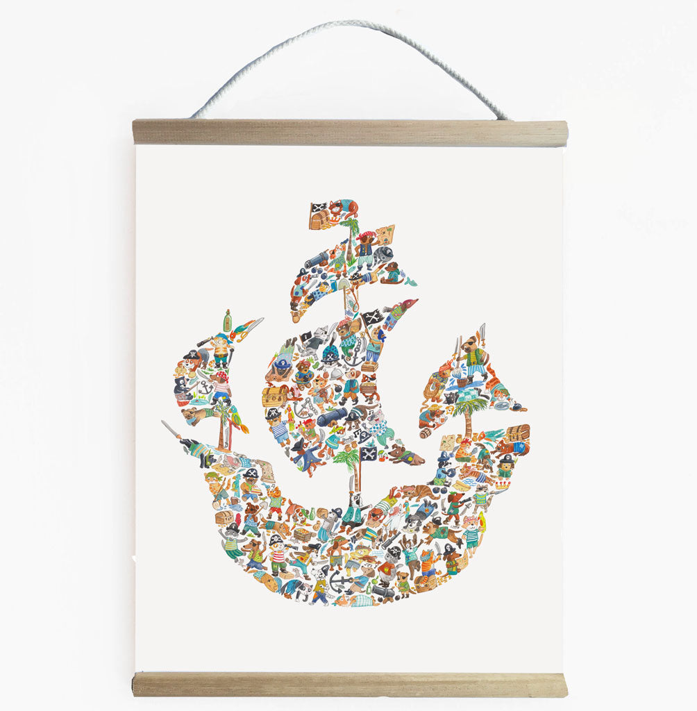 Ready To Hang Pirate Ship Banner For Boys room