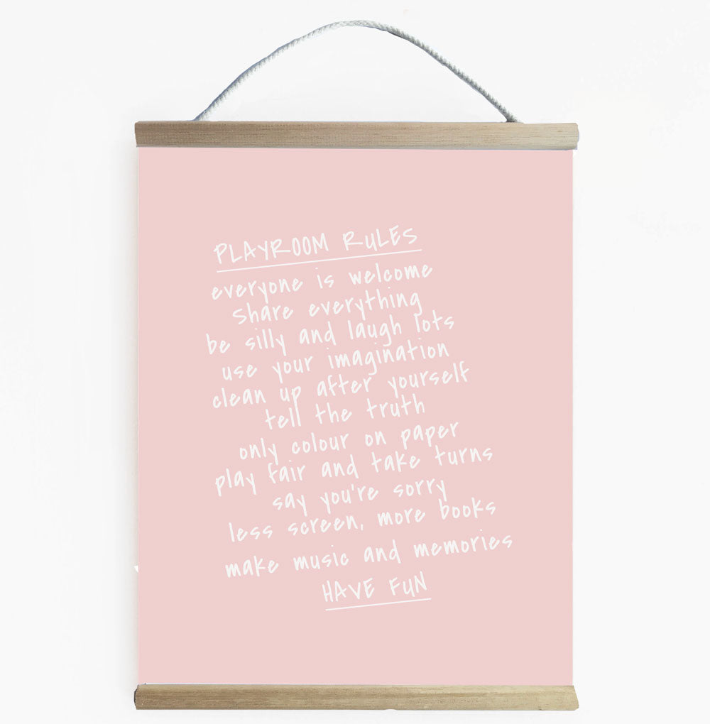 Playroom Rules Wall Banner Blush