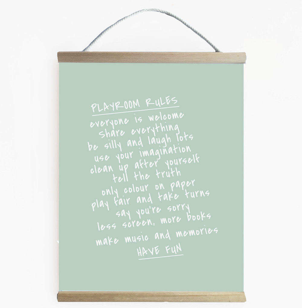 Playroom Rules Kids Wall Banner Green
