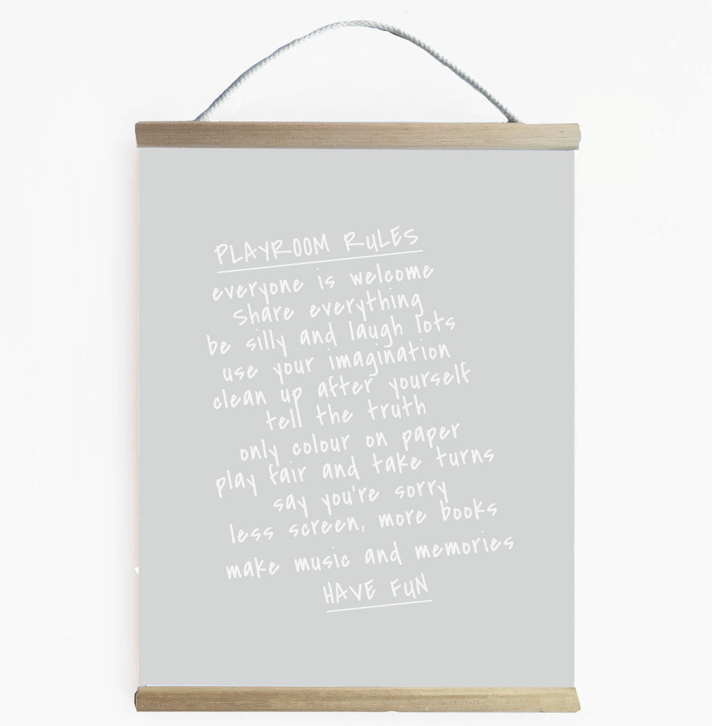 Playroom Rules Banner Grey