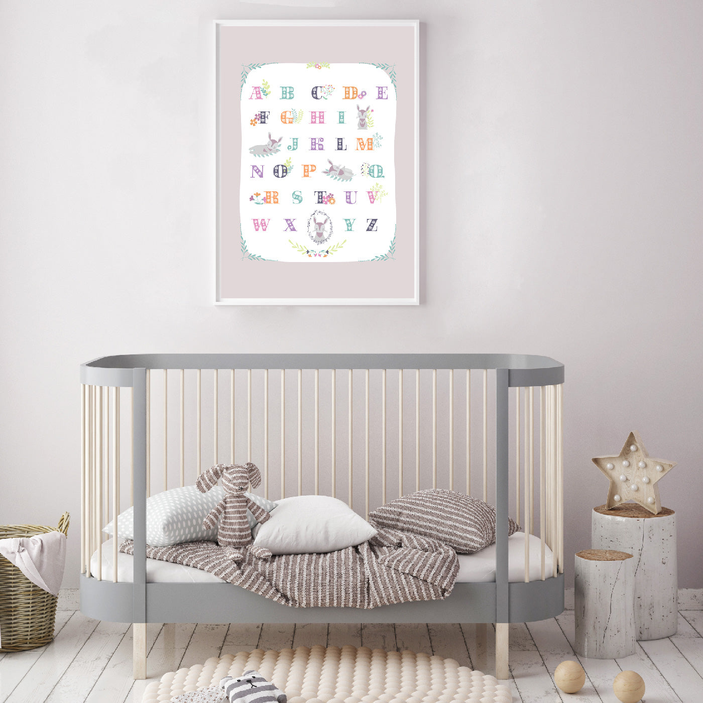 Rabbit Alphabet Nursery Poster
