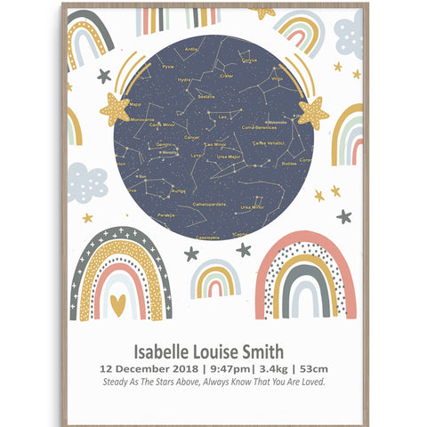 Star Map Rainbows Birth Print