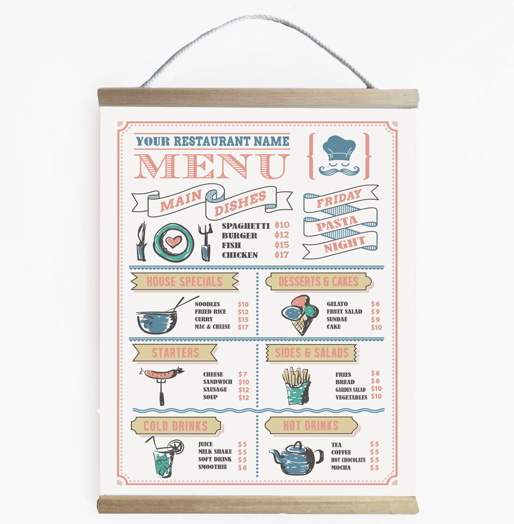 Play Kitchen Personalised Coloured Restaurant Menu Banner