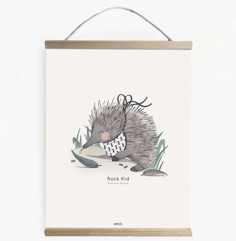 Aussie Rock Kid Echidna Nursery And Kids Room Wall Banner