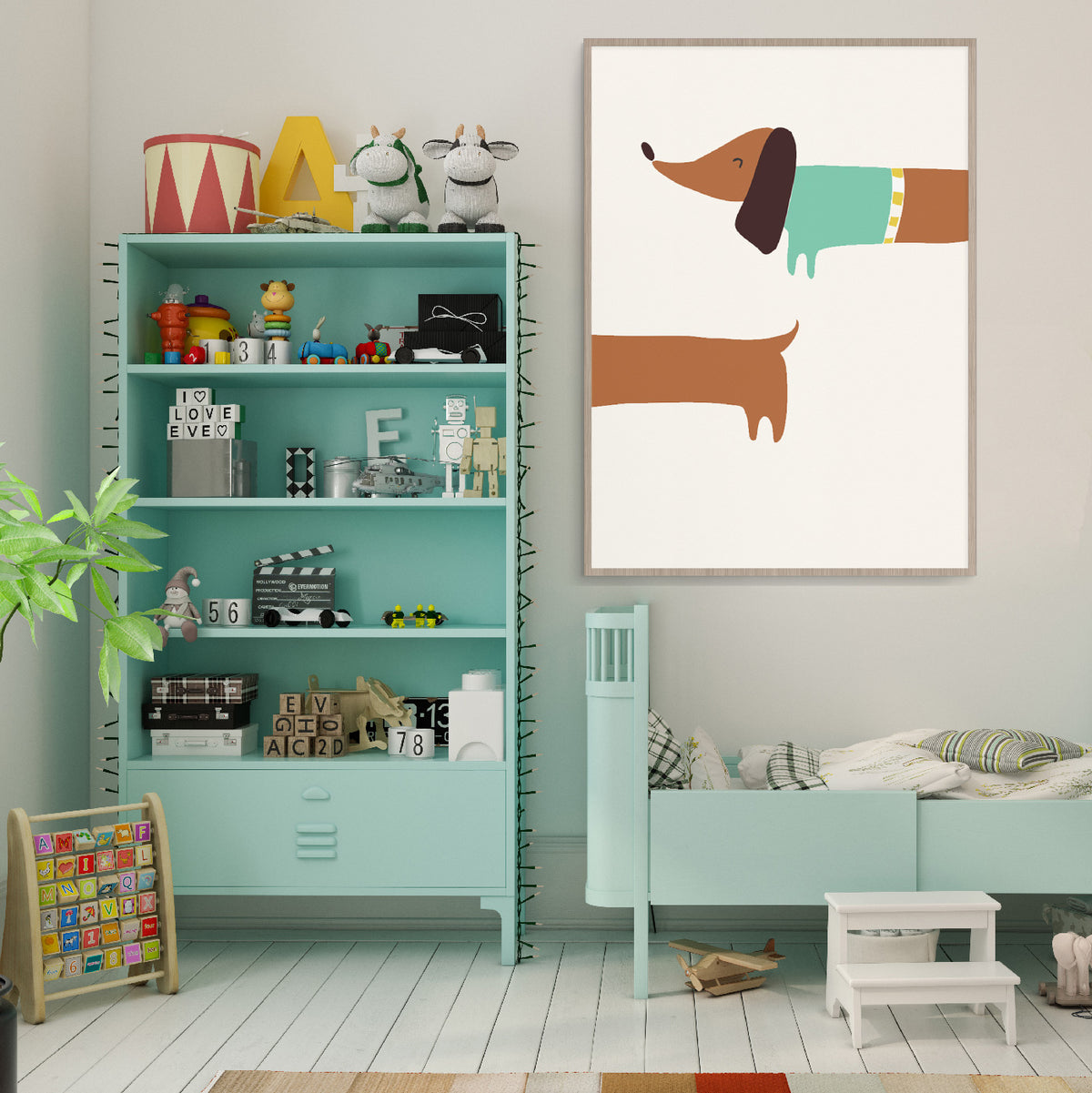 Gender Neutral Sausage Dog Wall Art
