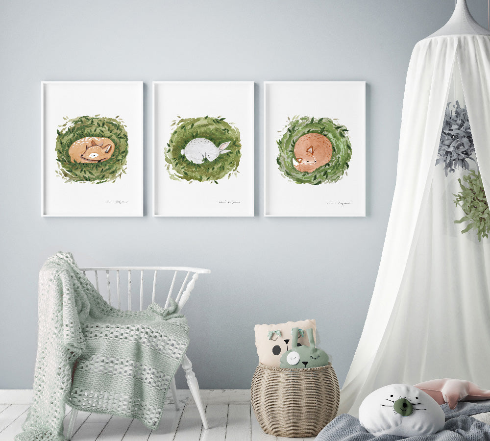 3 Sleeping Critter Print Set