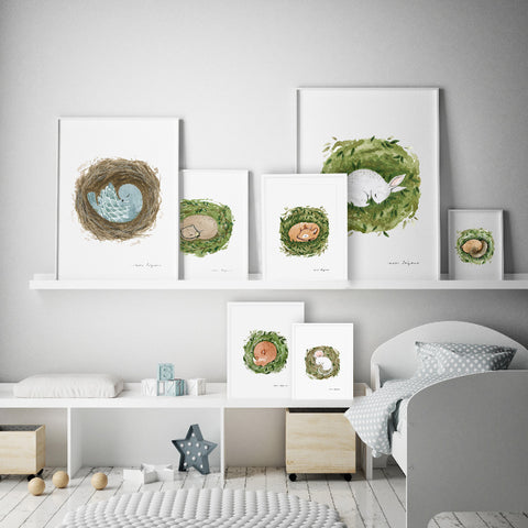 Gender Neutral Sleeping Critters Nursery Art